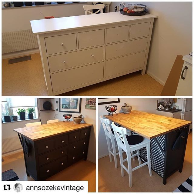 Check Out This Kitchen Island By Annsozekevintage In Its Former Life It Was An Ikea Hemnes Ikea Kitchen Island Ikea Hack Kitchen Kitchen Island With Drawers