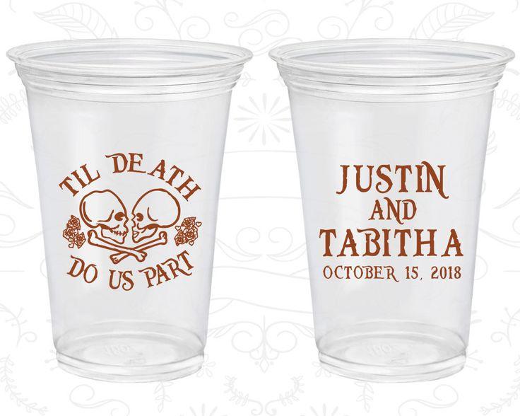 Till Death Do Us Part, Personalized Clear Plastic Cups, Sugar Skull, Dia De Los Muertos Wedding, Soft Plastic Cups (85)