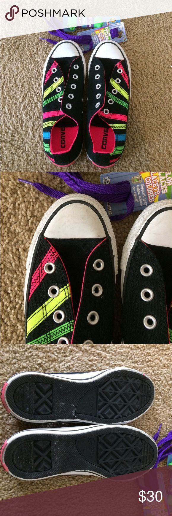 Neon converse Never worn. Slight markings from being a display pair. Will include 2 pairs of laces. Size 6. Converse Shoes Sneakers