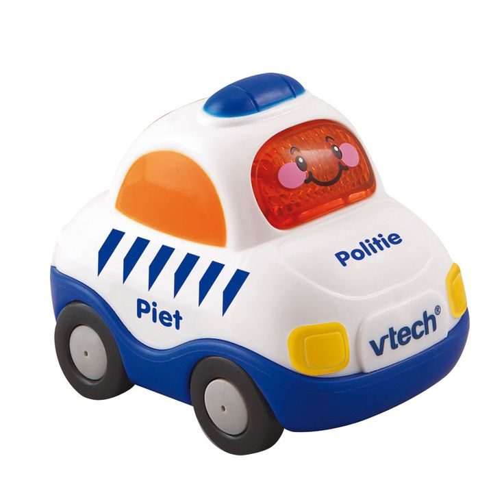 VTech Toet Toet Politie. Leuk autootje met meerdere gezongen liedjes en korte melodietjes. Bewegingssensor activeert grappige zinnetjes en muziek. Knipperende gezichttoets. Met realistische geluiden. Automatische uitschakeling. Afmeting:verpakking 13 x 10 x 7 cm  - VTech Toet Toet Politie