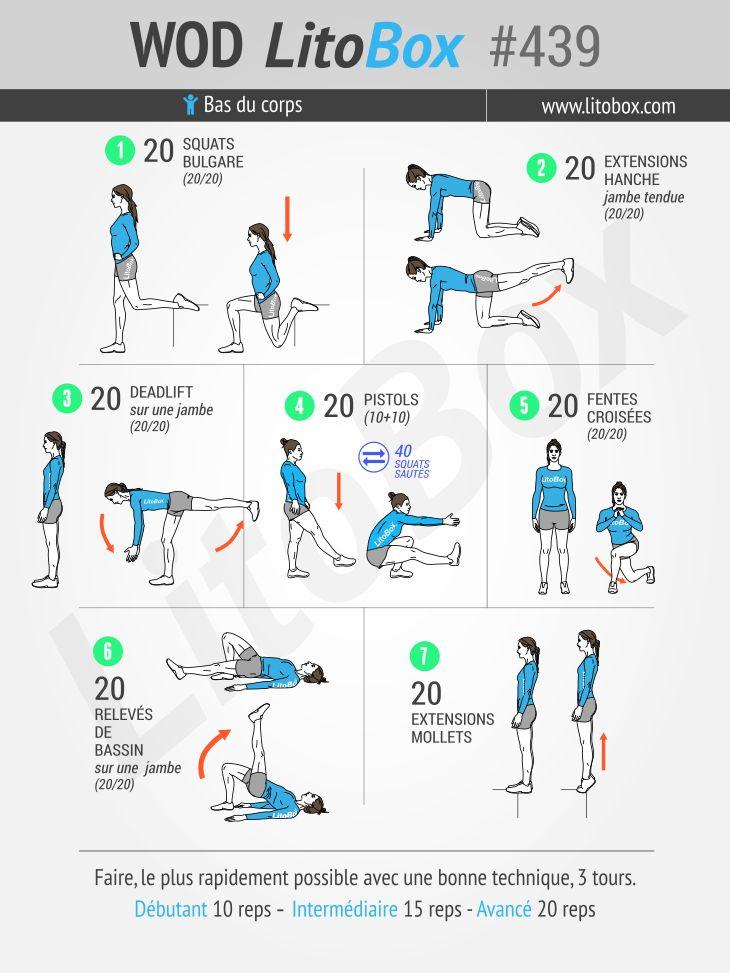Aujourd'hui c'est Leg day : un programme au poids du corps pour muscler les jambes (fesses, cuisses et mollets).  Épinglez cet entrainement pour le réaliser plus tard !  Bon courage !  Pierre.