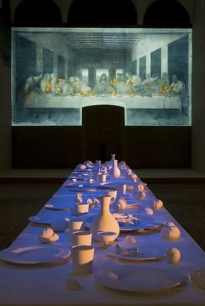 Peter Greenaway (multimedia artist/film director) created a 'son et lumiere' of Leonardo's Last Supper.