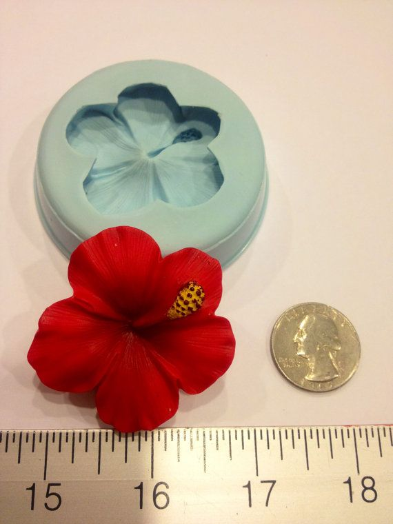 Hibiscus Silicone Mold (chocolate, fondant, gumpaste, sugarcraft, cake, wedding, favors, showers, party)