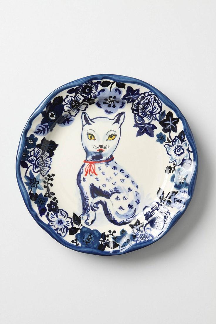 kitty flowers : Dinners Plates, Nathali Lete, Blue Cat, Kitty Plates, Fine Felin, Cat Plates, Cat Stuff, Felin Plates, Decor Plates