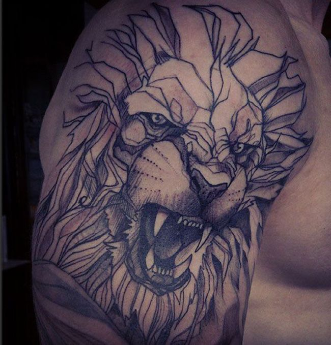 http://tattooideas247.com/lion-shoulder/ Geometric Lion Shoulder Tattoo #Geometric, #Lion, #Soulder