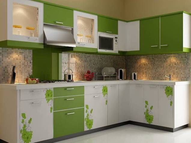 Kitchen Design, Exciting Pink Modular Kitchen Design Furniture With Floral  And Brown Square Tile Wall Decor Ideas Feats Red White Cabinetary Also  Modern ...