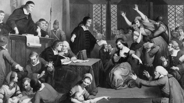 Évanouissements et agitations pendant un procès d'un accusé, George Jacobs, suspecté de sorcellerie en 1692.