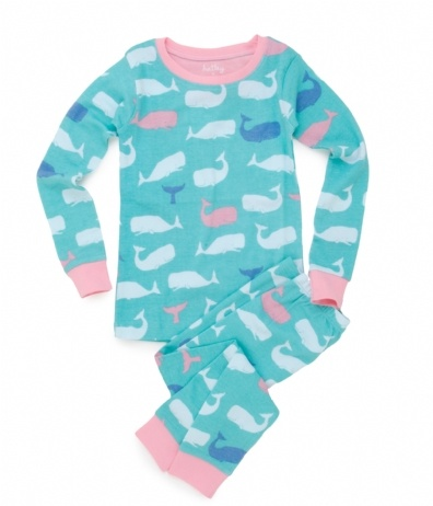 Hatley Store: Hatley Pink Whales Kids' Overall Print Pajama Set