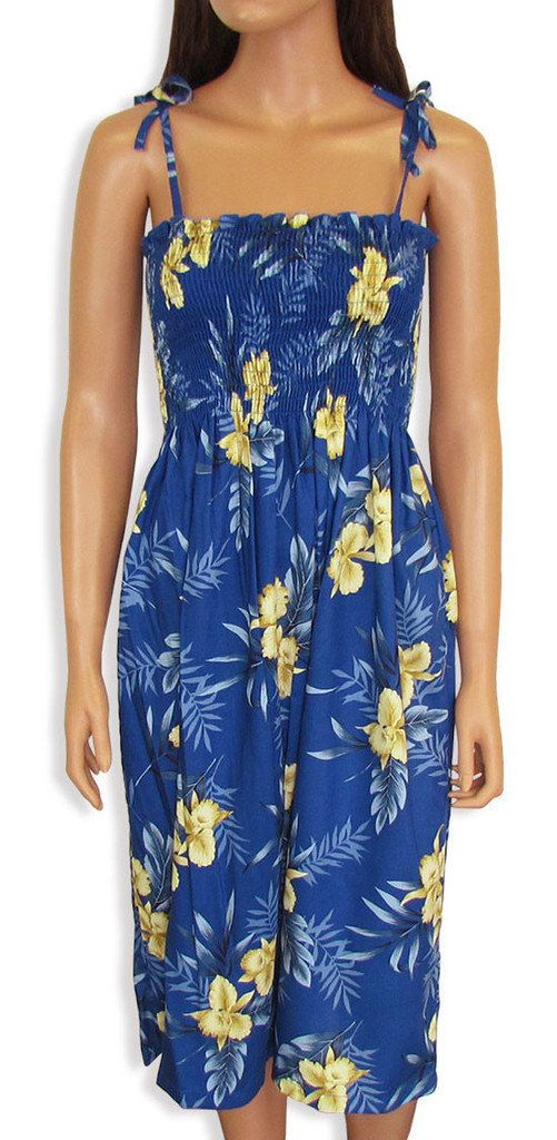 Tropical Blue Orchid Hawaiin Tube Smocked Dress by FashNerds