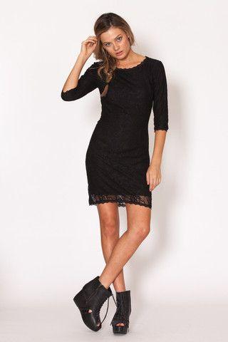 Amilita - Liv Mini Dress   black   lace   bohemian   gypsy   festival   model style   classic   Paved Paradise