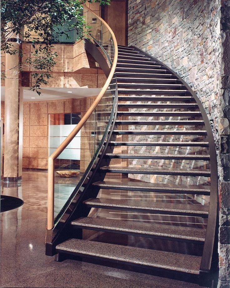 Architectural Steel Stair #veneer #woodveneer #bohlke #steelstaircase #steelstairs