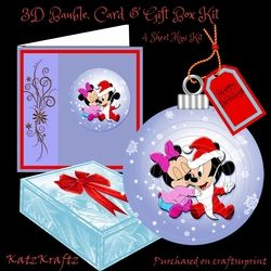 3D Baby Mickey   Minnie Bauble  Card   Box Mini Kit on Craftsuprint - View Now!