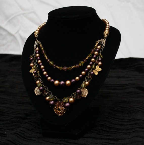 Gold and Purple Faux Pearl Triple Strand by AnomalieAccessories, $35.00