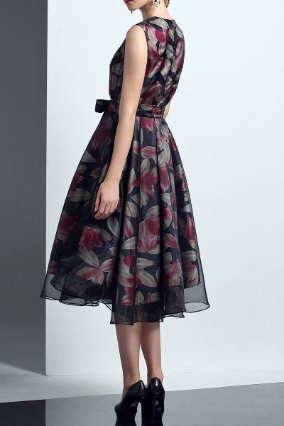 18cheng Black Floral Tulle Dress   Midi Dresses at DEZZAL
