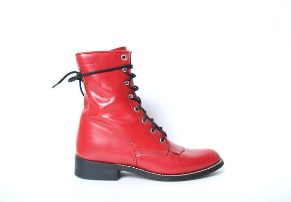 Red Leather Justin Kiltie Boots  Rope  Racer by HowToCatchaGhost