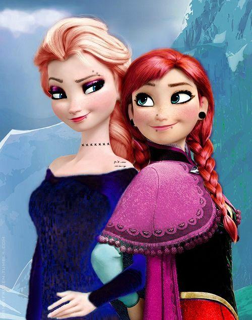 anna and elsa frozen disney punk edit disney princess dιѕney pυnĸ