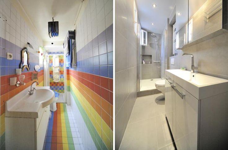r novation d une salle de bain troite garage buanderie pinterest. Black Bedroom Furniture Sets. Home Design Ideas