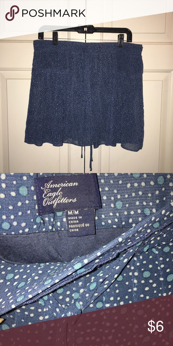 American Eagle Skirt Flowy shirt with sheer polka dots layer. Lined with cotton-like material inside so it's not transparent. Draw strings for elastic waist band. Great condition. American Eagle Outfitters Skirts Mini