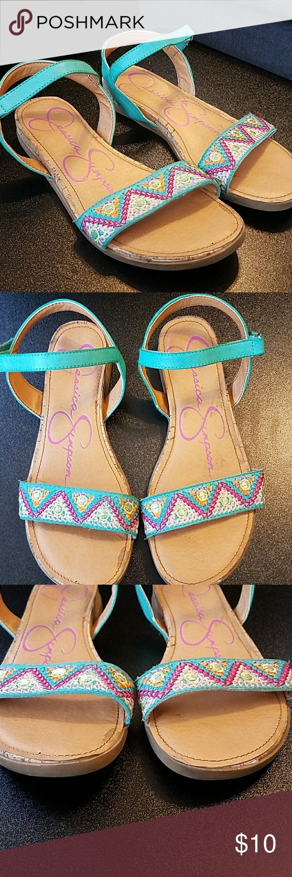 Jessica Simpson Sandals Size 4 Adorable! Bright Colored Tribal Strap with Leather Velcro Strap at Ankle. Great Condition just some dirty spots. Still for sale at Nordstrom for $40 Jessica Simpson Shoes