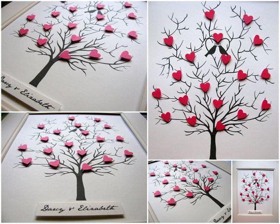 3D Herz Baum - 8 x 10. Hochzeit. Jubiläum. Besonderen Anlass. IHRER Wahl von Farben. Kann unten - Made to Order personalisiert werden