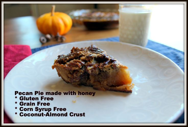 Honey-sweetened Pecan Pie with a coconut-almond crust. Perfect to bring to any holiday get together- sure to be a hit!