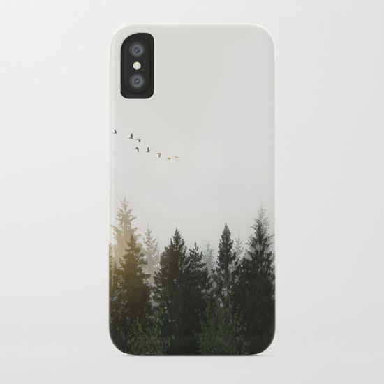 Digitally altered images of a foggy Swedish forest landscape in dawn with flock of birds flying over the trees. #nature #forest #landscape #birds #iphone #case #iphonecase #smartphone