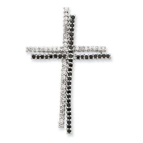 Sterling Silver Black & Clear Cz Cross Pendant Shop4Silver. $28.04. Save 68% Off!