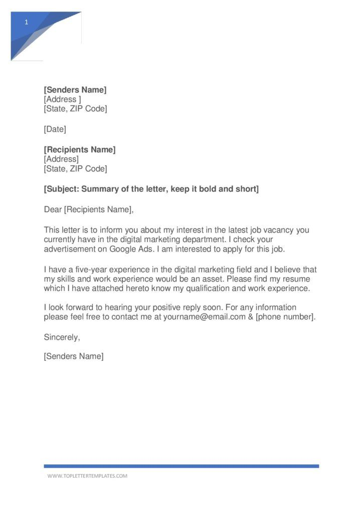 Simple Application Letter Sample For Any Vacant Position Word Pdf Letter Templates Application Letter Sample Simple Application Letter Application Letters