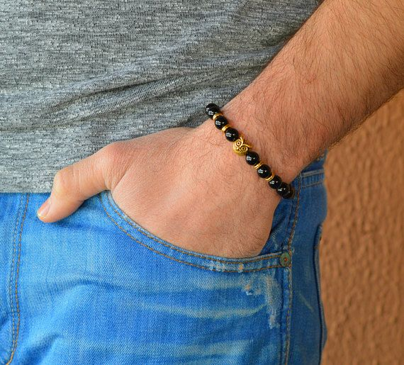 owl Men's Bracelet. Owl Bracelet. Wisdom Bracelet. Jasper