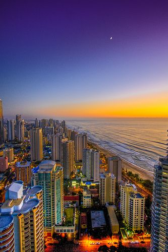 My home - the Gold Coast, QLD. Sunrise and moon set on The Great Eastern Coastline of Australia.