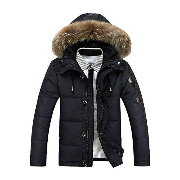 MatchLife Men's New Faux Fur Hooded Zip Padded Winter Parka Coat (185 BRL) ❤ liked on Polyvore featuring men's fashion, men's clothing, men's outerwear, men's coats, mens parka coats, mens parka and mens coats