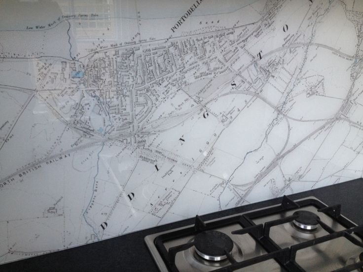 "Personalised ""Map of Edinburgh"" splashback provides stunning backdrop to your kitchen. What would you choose for your backdrop? Let us know! It can be done!"