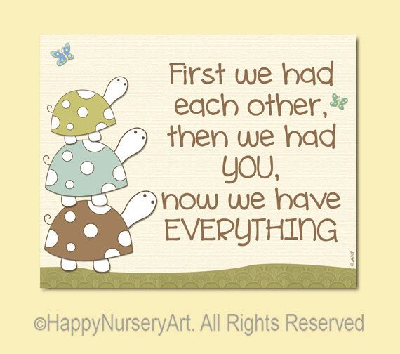 Turtles nursery art print, first we had each other, brown, green, light blue, cream, unisex baby wall art, boys, girls room, love quote. $15.00, via Etsy.