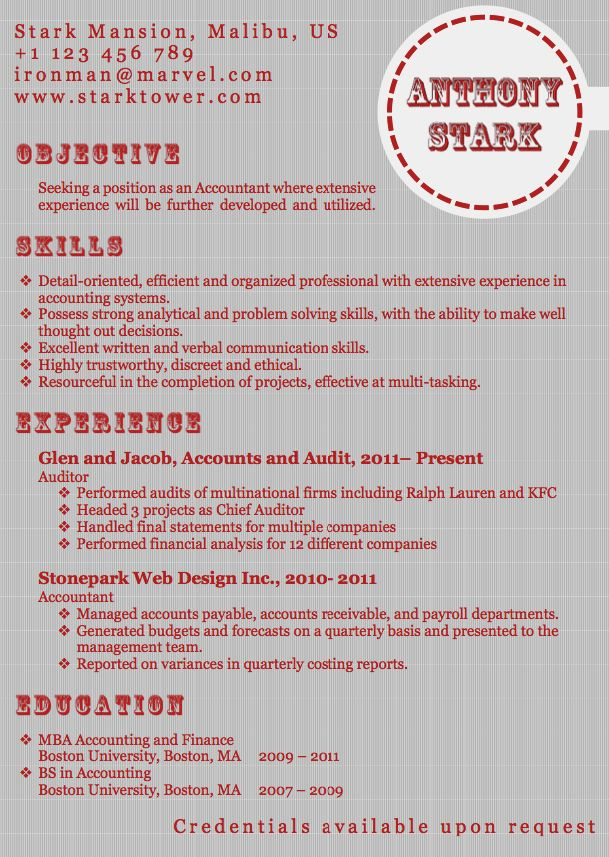 best cv format for accountant