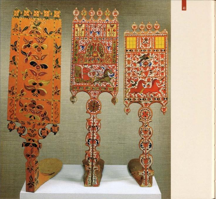 Russian distaffs with elaborate decoration Русский музей - Русские прялки