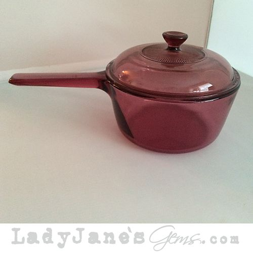 Lady Jane's Gems - Pre-Loved Rose Purple Corning Pot With Matching Pyrex Lid, $20.00 (http://www.ladyjanesgems.com/pre-loved-rose-purple-corning-pot-with-matching-pyrex-lid/) #pyrex #purple #purpleglassdish #corning #FL #CA #vintage #retro #shabbychic #ladyjanesgems #baking #chef #FL #CA #kitchenaccessories #kitchendecor #glassbakewear