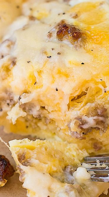 Sausage, Gravy and Biscuit Breakfast Casserole ~ Perfect to double for large groups and can be assembled the night before for practically no morning prep... Fabulous! .