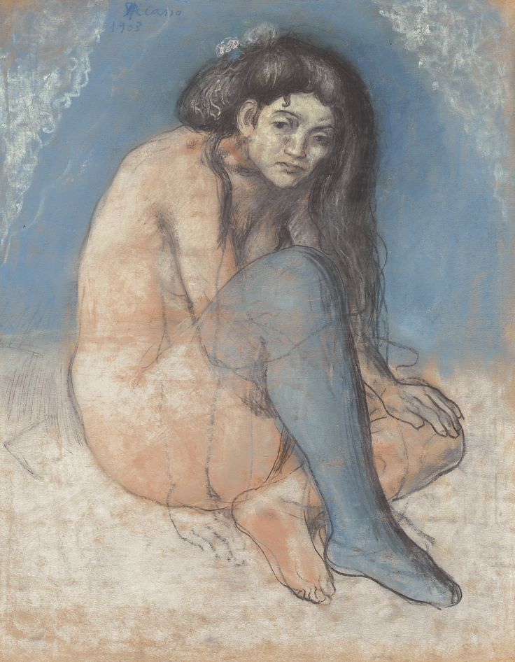 Pablo Picasso 1881 - 1973 NU AUX JAMBES CROISÉES Signed Picasso and dated 1903 (upper left) Pastel and black crayon on paper 22 1/2 by 18 in. 57.5 by 45.8 cm Painted in 1903.: