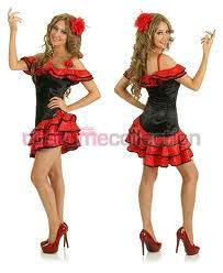 this ladies senorita spanish dancer outfit is a fantastic costume idea for halloween dance themed fancy dress parties - Mexican Themed Halloween Costumes