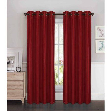 Kim Faux Silk Extra Wide Grommet Curtain Panel Pairs, Red
