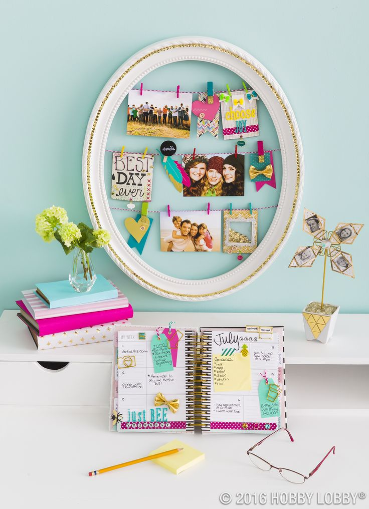 Create an inspiring organization station by placing tiny treasures—like die-cut shapes, glittered clothespins and 3D stickers—in your office space!