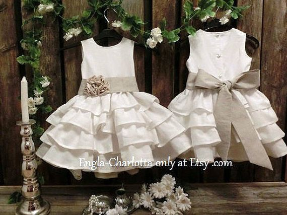 Linen flower girl dress. Rustic flower girl dress. Off white flower girl dress, country wedding. Girls linen dress. Toddler ruffle dress