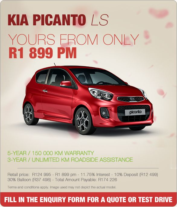 New KIA Picanto LS From Only R1 899 pm