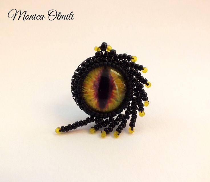 'Dragonlord' custom made ring by Monica Otmili  #fantasy #dragon #dark #black #yellow #tales #ring #beaded #beadwork #jewelry #gothic #drygoneye #eye