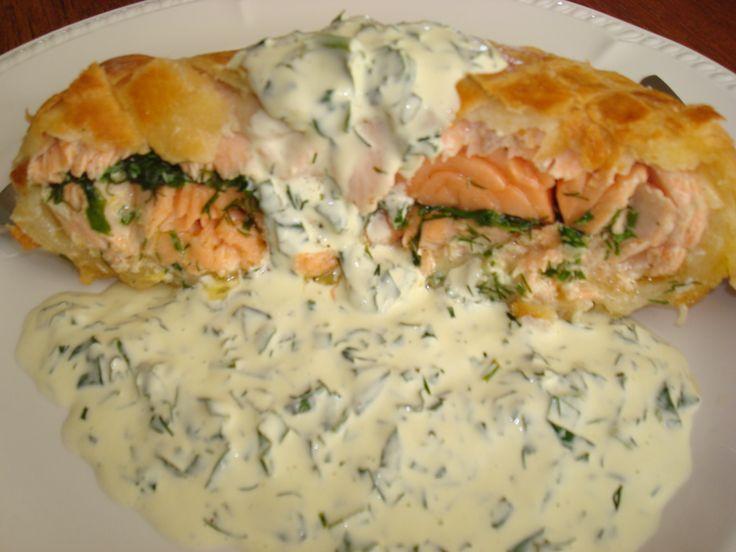 Salmon en Croute with herb sauce ummmmmmmm