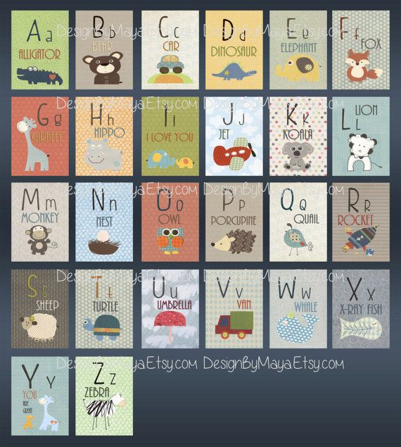 Alphabet Cards A to Z Animal Alphabet Card Set by DesignByMaya -- could do something like this for baby boy's room. Could also make a out of these…