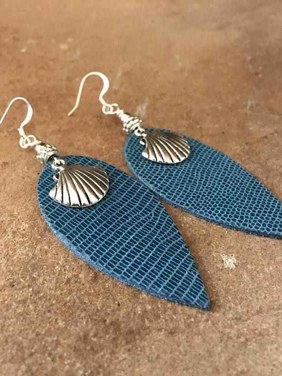 """Blue Leather Earrings with Sea Shell Focal-Pierced-Beachy and BohoChic-Handmade-mSs-3-1/4"""" Long-Trend-Jewelry-Whimsical-Leather Jewelry"""