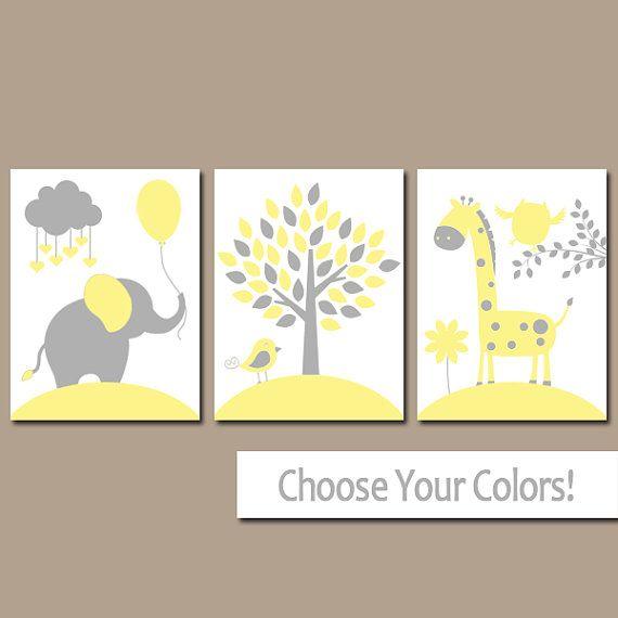 Gelbe graue Tierkindergarten Wandkunst, Leinwand oder Print Baby Mädchen Kinderzimmer Dekor, Elefanten Giraffe Baum, Dschungel Safari Tiere Artwork, 3er Set