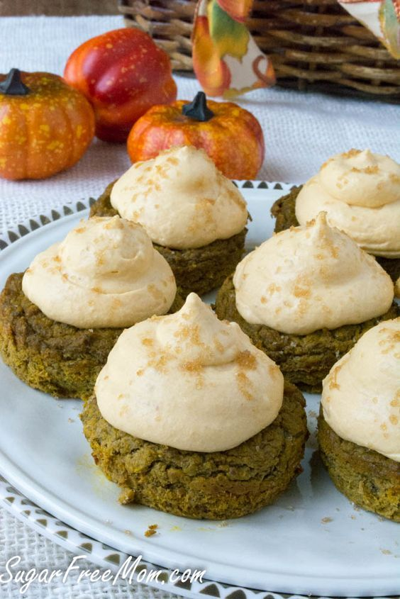 Low Carb Pumpkin Pie Cupcakes - topping is a Low Carb Pumpkin Cheesecake Mousse.