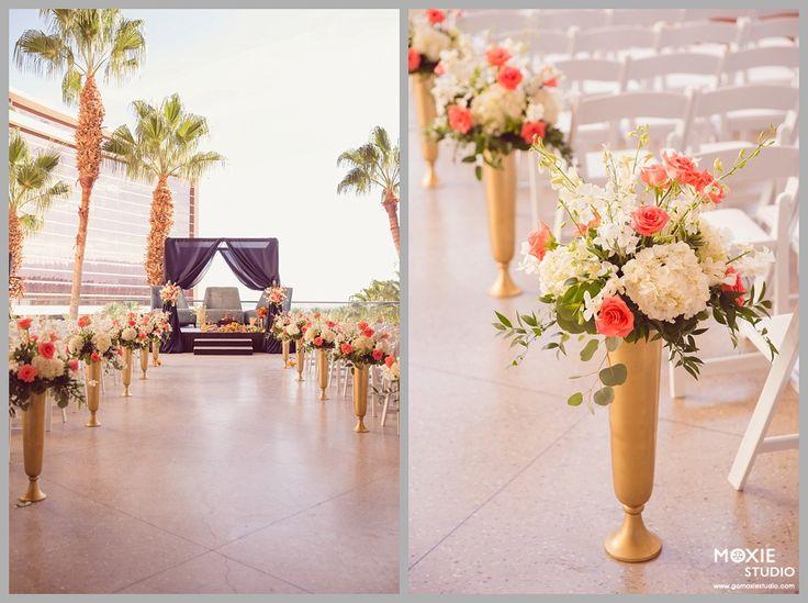 Enchanted Florist Las Vegas, Gold and Pink Wedding, Aisle Arrangements, Wedding Aisle Flowers, Redrock Wedding, Hindu wedding, Indian ceremony Las Vegas,